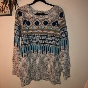 Barely kensie tribal long sweater size medium